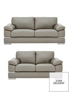Grey | Leather Sofas | Sofas | Home & garden | www.very.co.uk