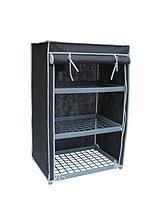 New Ideal 3 Shelf Canvas Storage Unit - Black
