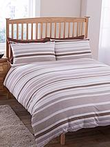 Geo Stripe Duvet Cover and Pillowcase Set - Beige