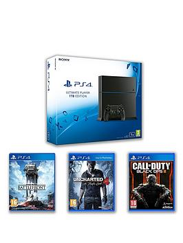 playstation-4-1tb-black-console-with-uncharted-4-a-thiefs-end-call-of-duty-black-ops-3-star-wars-battlefront-and-optional-365-psn-subscription-and-extra-dualshock-controller