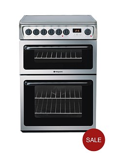 hotpoint-hae60xs-ultima-60-cm-ceramic-hob-double-oven-electric-cooker-stainless-steel