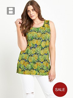 so-fabulous-pineapple-print-split-side-sleeveless-tunic