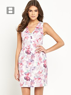 oasis-v-neck-fleur-print-lantern-dress