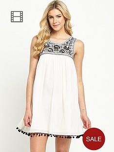south-pom-pom-trim-swing-dress