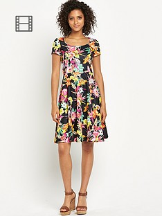 south-floral-print-textured-dress