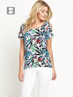 south-floral-print-cold-shoulder-top