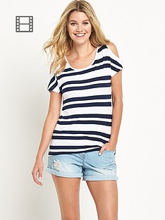 south-stripe-print-cold-shoulder-top