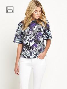 south-floral-print-angel-sleeve-top