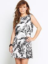 Overlay Cutout Back Printed Dress