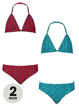 Girls Animal Print Triangle Bikinis (2 Pack)