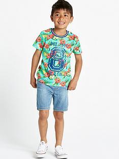 ladybird-boys-flowered-t-shirt-and-denim-shorts-set-2-piece