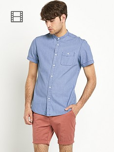 goodsouls-mens-bleach-wash-chambray-grandad-collar-shirt