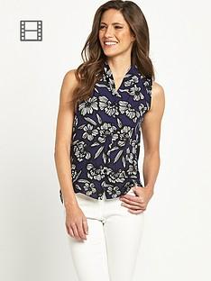 savoir-sleeveless-button-front-top
