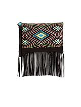 bead Embellished Fringed Wristlet Clutch Bag