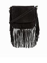 Suede Fringed Crossbody Bag - Black