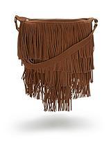Suede Fringed Shoulder Bag - Tan