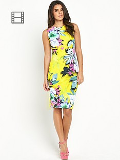 lipsy-yellow-tropical-bodycon-dress