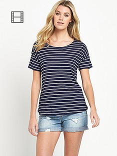 south-striped-short-sleeved-casual-top