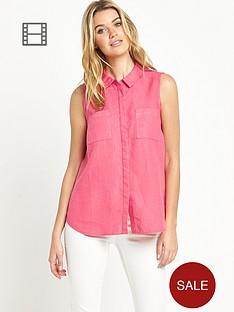 savoir-sleeveless-linen-mix-shirt
