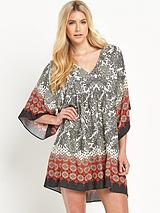 V Neck Mixed Tile Printed Smock Dress