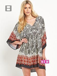 south-v-neck-mixed-tile-printed-smock-dress
