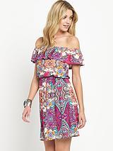 Jersey Paisley Frill Bardot Day Dress