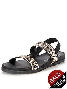 moda-in-pelle-nazarro-black-elastic-flat-sandals