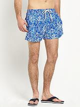 Mens Hawaiian Print Swim Shorts