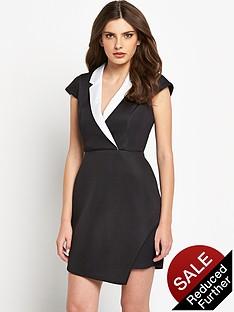 definitions-mono-airtex-tuxedo-dress