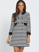 Three-Quarter Sleeve Stripe A-line Coat