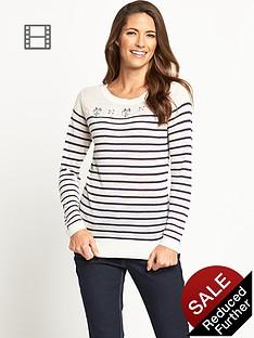 savoir-lightweight-linen-blend-embellished-stripe-jumper