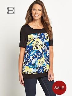 savoir-short-sleeve-printed-rib-blouse