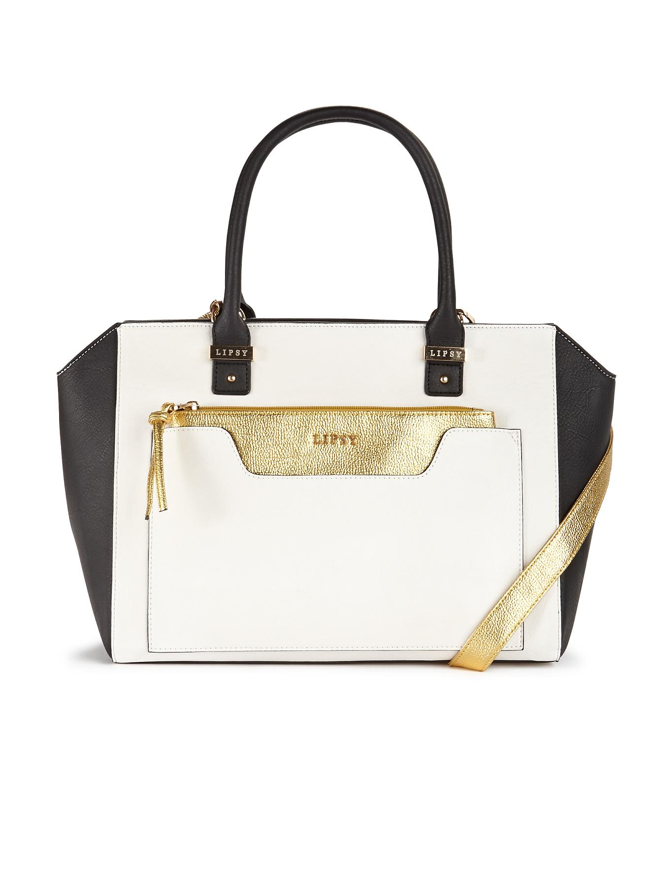 Lipsy Tote with Clutch Bag - White, White