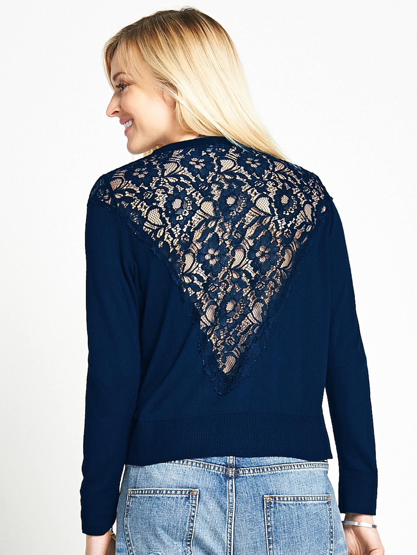 Fearne Cotton Lace Back Jumper - Navy, Navy