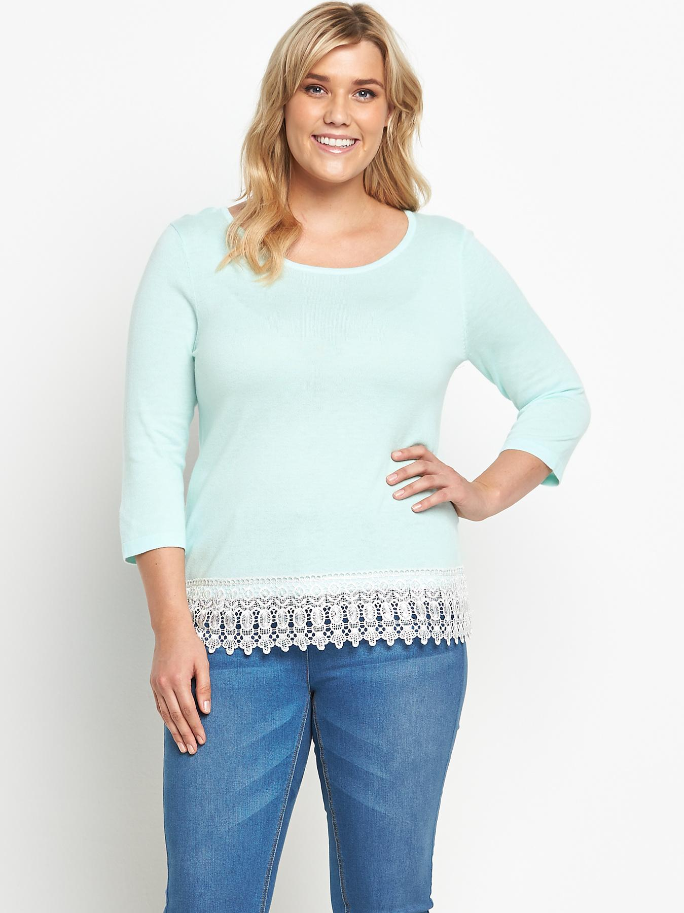 So Fabulous Crochet Lace Hem Jumper - Green, Green