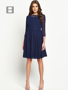 little-mistress-long-sleeve-neck-embellished-dress