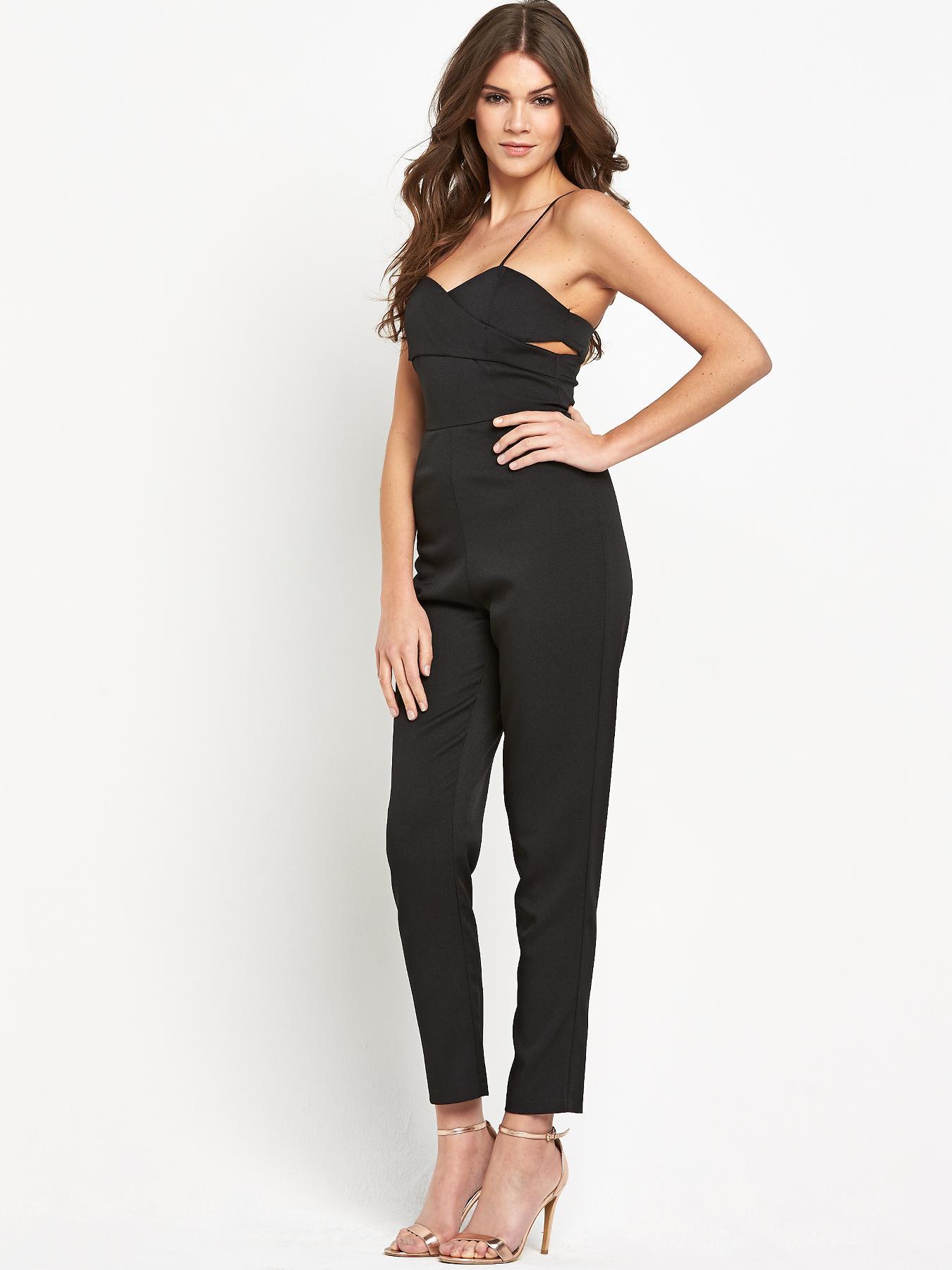 Lavish Alice Crossover Bralet Tapered Leg Jumpsuit - Black, Black