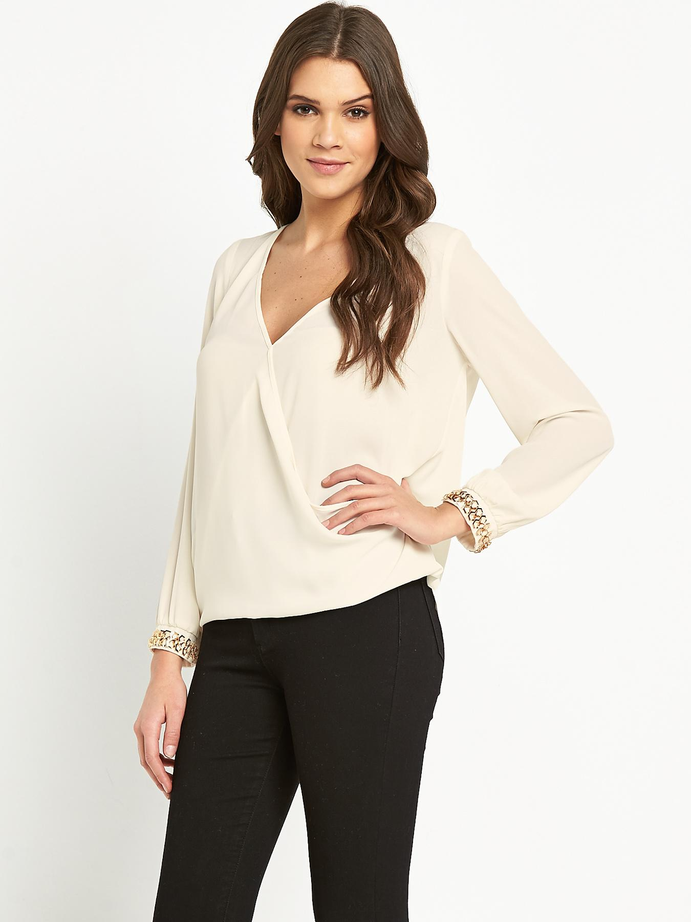 Lipsy Michelle Keegan Cuff Blouse - Cream, Cream