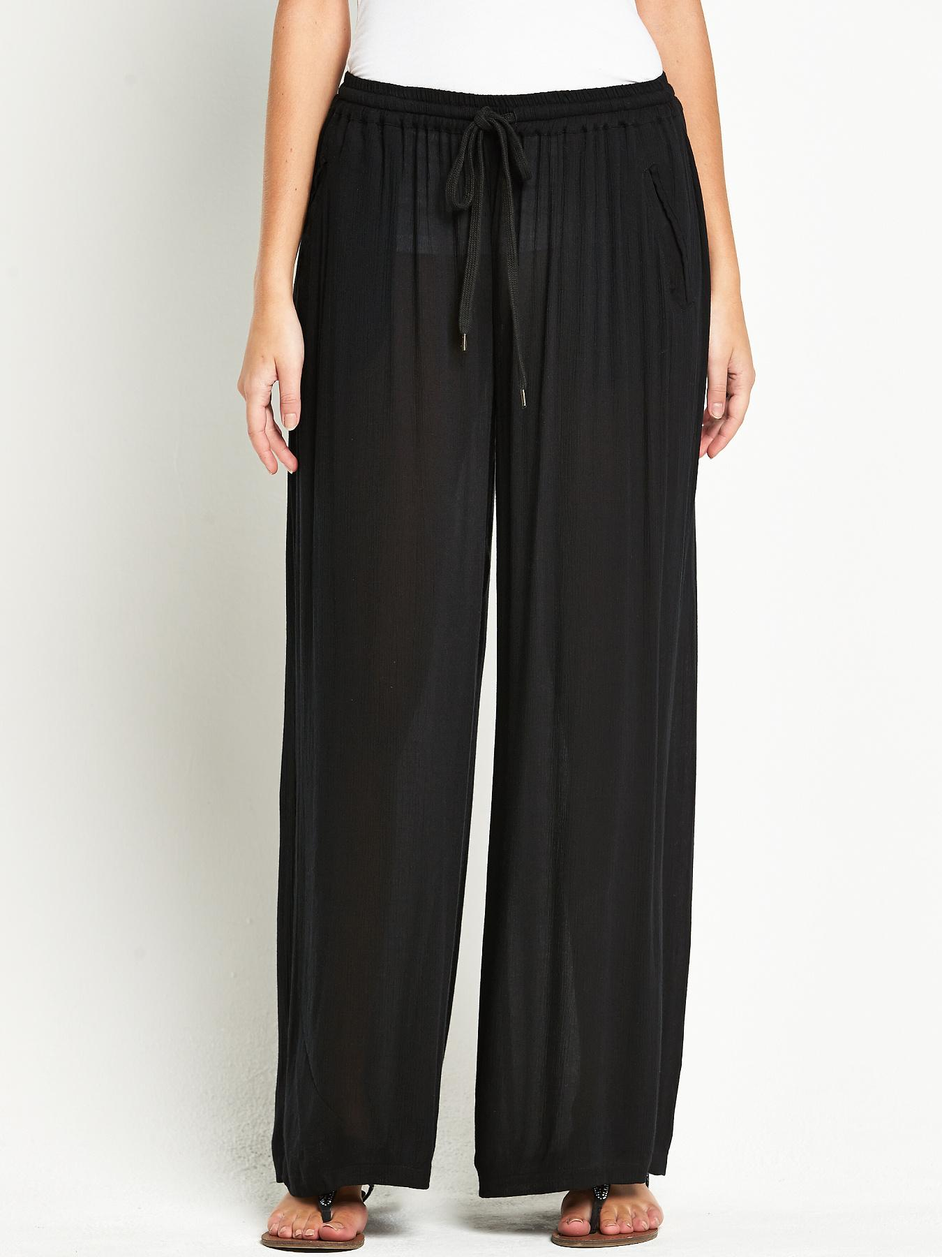 South Crinkle Wide Leg Trousers - Black, Black