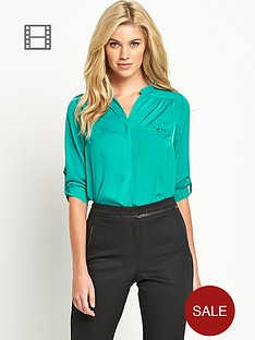 south-roll-sleeve-satin-blouse
