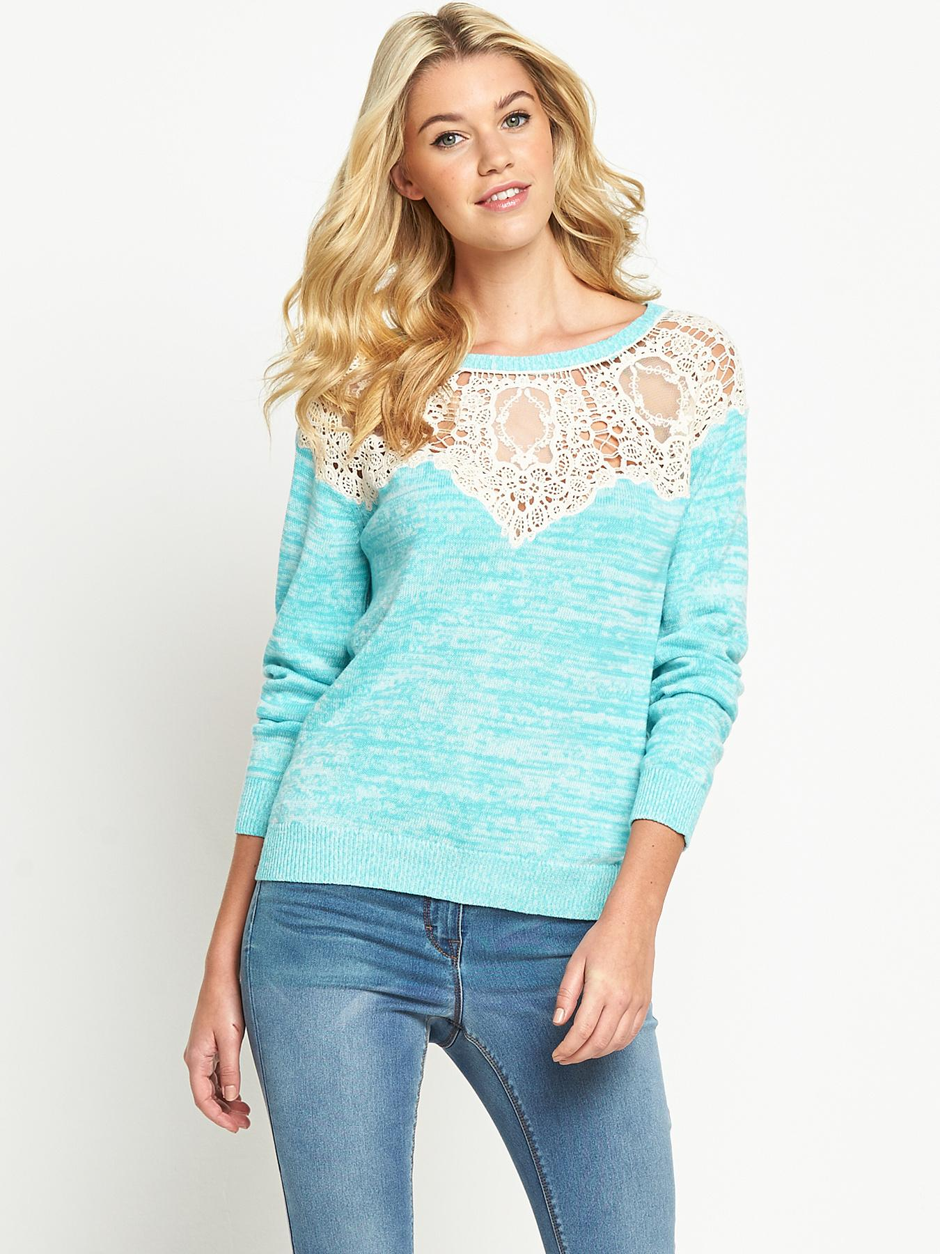 South Crochet Lace Yoke Jumper - Blue, Black,Blue.