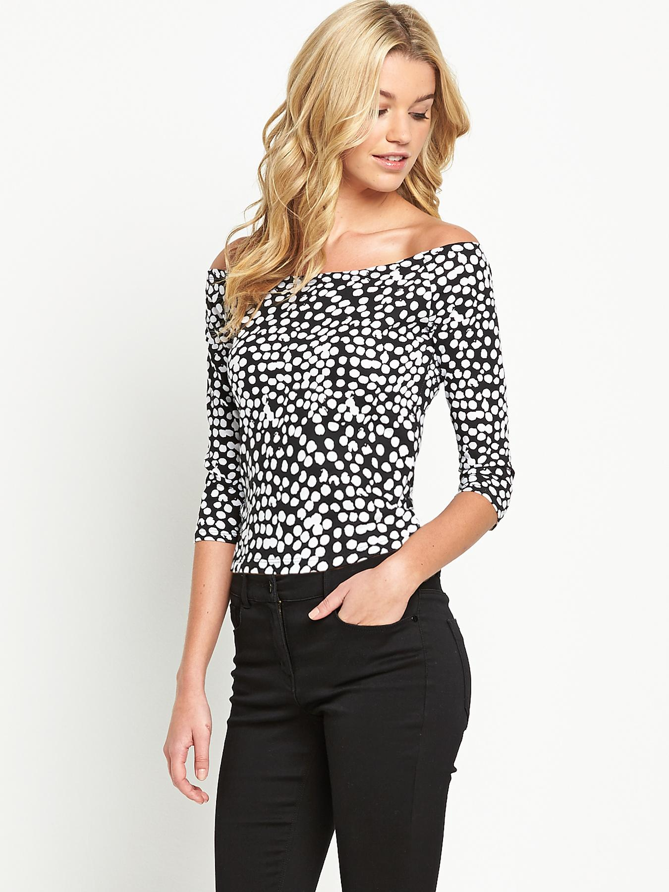 South Long Sleeved Bardot Top, Black,Blue
