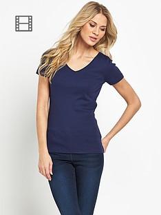 south-short-sleeved-v-neck-rib-t-shirt