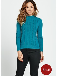 myleene-klass-ruffle-front-fitted-knit-turtle-neck-jumper