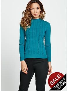 myleene-klass-ruffle-front-fitted-knit-turtle-neck-jumper