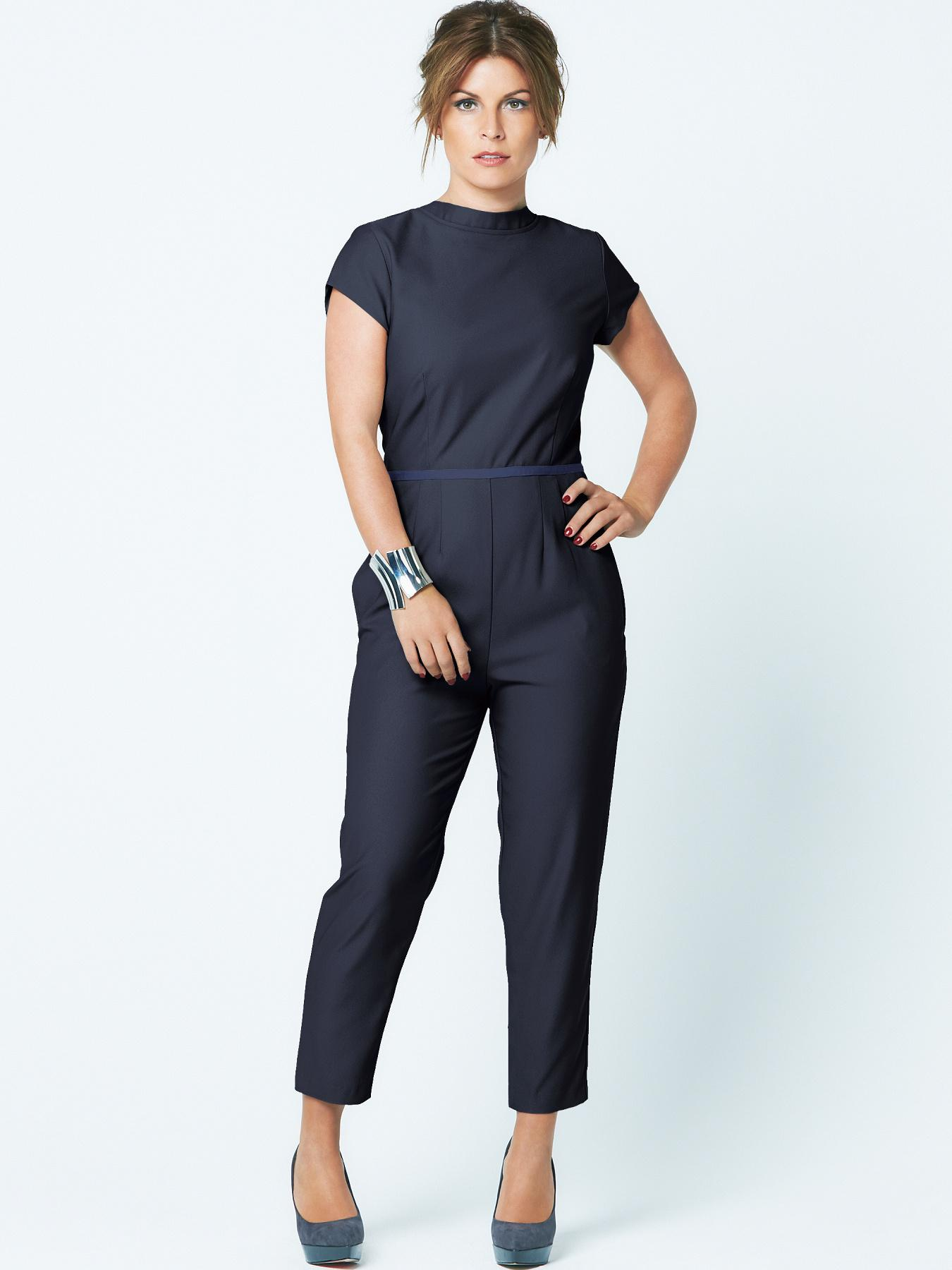 Coleen V Back Slim Leg Jumpsuit - Navy, Navy at Very, from Littlewoods