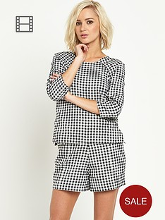 coleen-three-quarter-sleeve-gingham-top