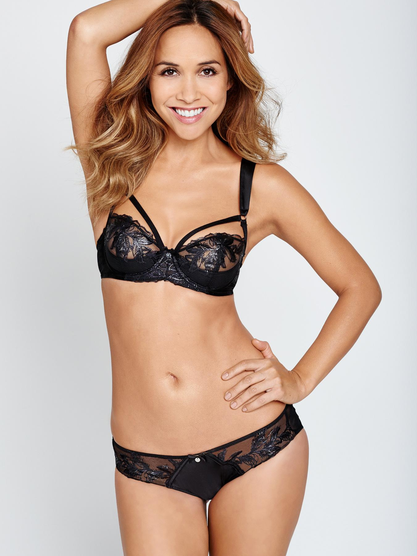 Myleene Klass Feathers Embroidery Plunge Half Padded Bra - Black, Black