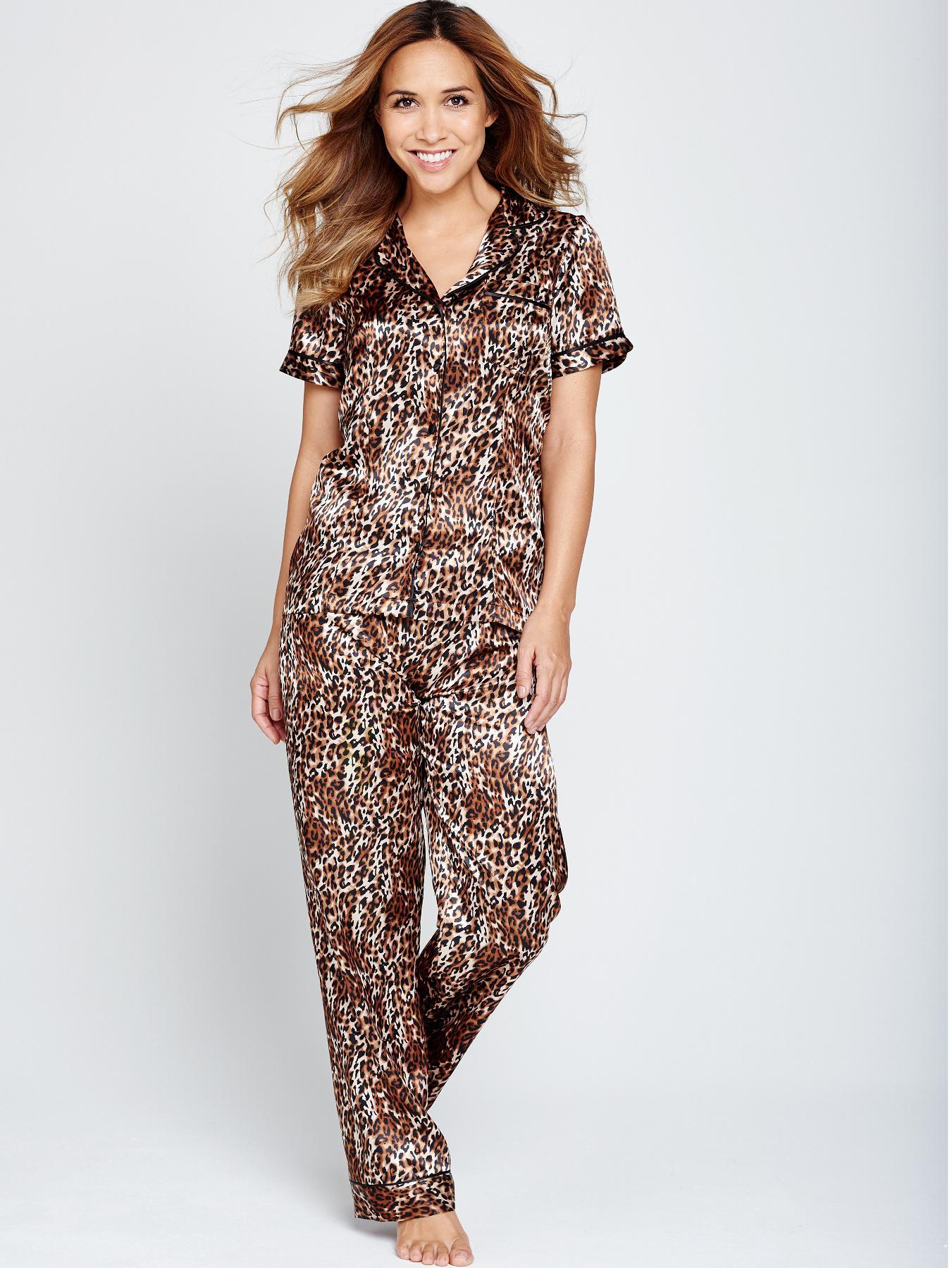 Myleene Klass Leopard Print Pyjamas - Black, Black