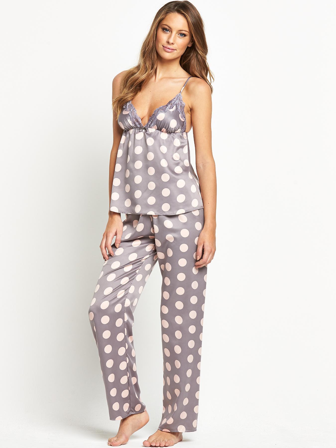 Sorbet Satin Spot Cami Pyjama Set - Grey, Grey